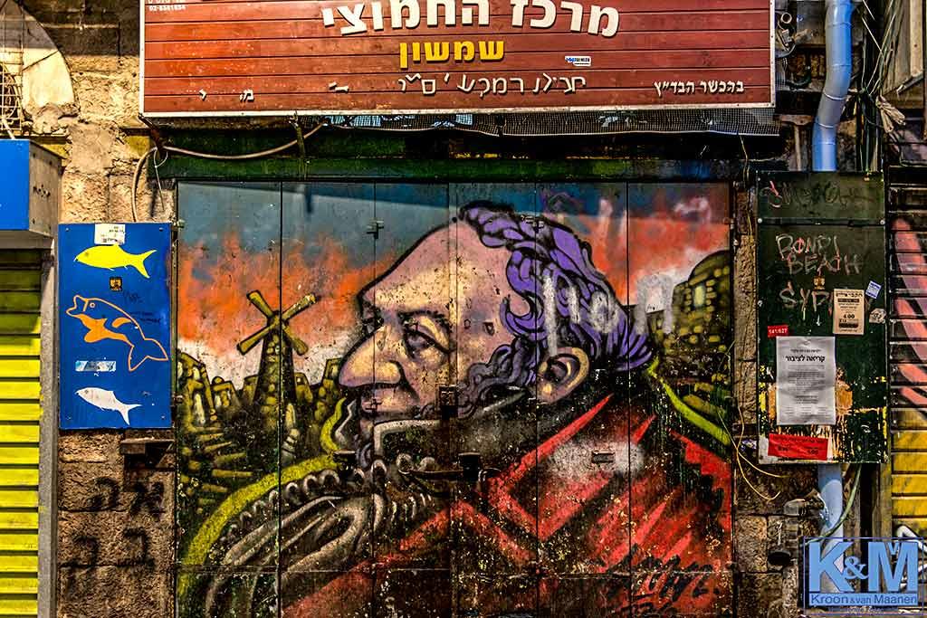 Ontmoeting met Montefiore in shuk Mahane Yehuda